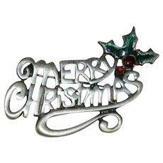 "Festive ""Merry Christmas"" Brooch"