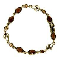 Pretty Citrine  and Amber Colored Rhinestone Bracelet
