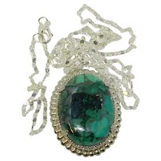 Unique Turquoise Colored Natural Stone Pendant on Sterling Chain
