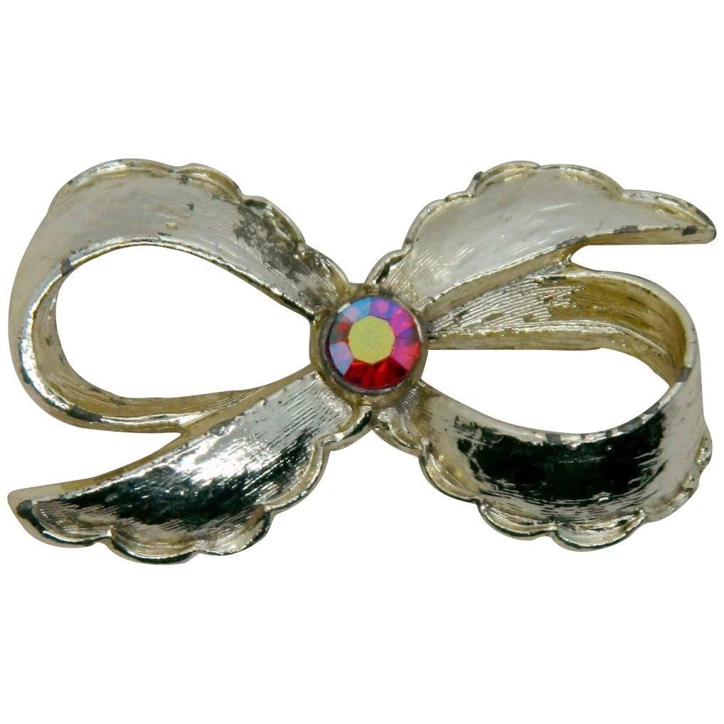 Silver bow brooch Vintage jewelry brooch. Gerry/'s bow brooch