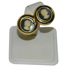 Early Celluloid Black and White Cameo Earrings