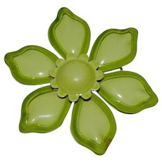 Lime Green 1960's Enamel Flower Power Brooch