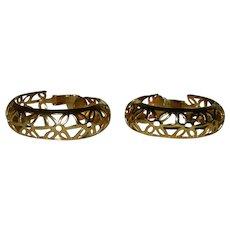 Lewis Segal California Gold Tone Filigree Hoop Earrings