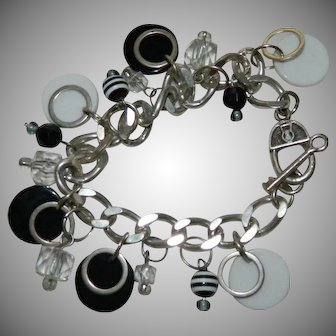 Silver Tone Mod Mid Century Black and White Charm Bracelet