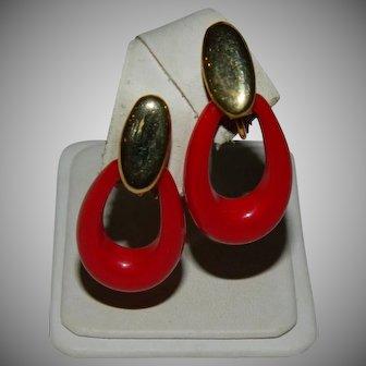 Pretty Christmas Red Napier Hoop Earrings
