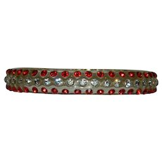 Early Dupont Clear Lucite Rhinestone Bangle Bracelet Red Clear