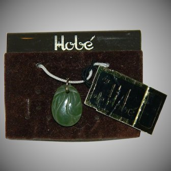 Rare! Hobe On Original Card Jade Charm