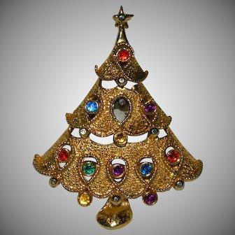 Fun Unique Rhinestone Christmas Tree Brooch