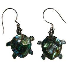 Sterling Abalone Shell Turtle Earrings Pierced
