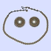 Gorgeous Married Set Faux Pearls Rhinestones Necklace Earrings Japan