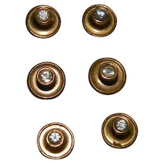 Art Deco Men's Shirt Studs Set of 6 Paste Stones Brass