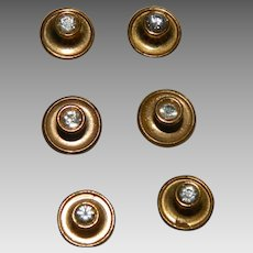 Art Deco Men's Shirt Studs Set of 6 Paste Stones Brass