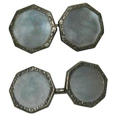 Art Deco Mother of Pearl Silver Men's Cuff Links