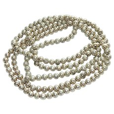 "Opera Length Sterling Silver Bead Necklace 60"" 110 grams"