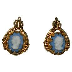 12k Gold Filled Wedgwood Cameo Earrings Pierced on Original Card