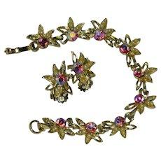 Stunning Aurora Borealis Rhinestone Seed Pearl Bracelet & Earring Set