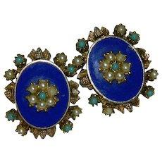 Victorian Revival Blue Enamel Seed Pearl Turquoise Clip Earrings