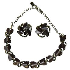 Lavender Grey Thermoset Plastics Necklace and Earring Set Converted to Pierced