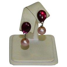 Pretty Purple Pink Enamel Faux Pearl Drop Pierced Earrings