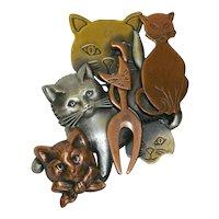 Fun Many Kitties Cats Multi Metals Brooch