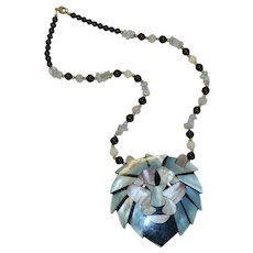 Lee Sands Lion's Head Inlaid Mother of Pearl Pendant Necklace