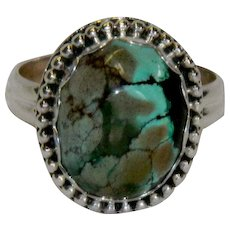 Gorgeous Spiderweb Turquoise Sterling Ring sz 8