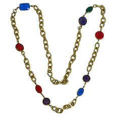 Vintage Bezel Set Colorful Acrylic Stone Necklace