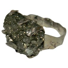 Brutalist Sterling Silver Pyrite Rough Sterling Silver Ring sz 8