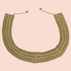Gorgeous 1940's Faux Pearl Collar 8 Strands!