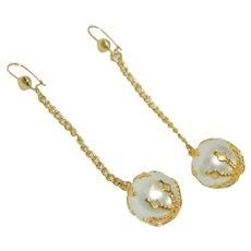 Smashing Long Faux Pearl Chain Drop Earrings Pierced