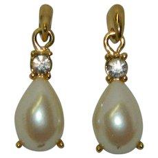 Elegant Richelieu Faux Pearl Rhinestone Pierced Earrings
