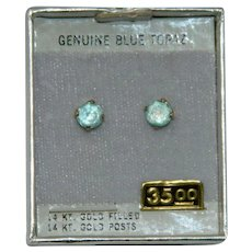 Genuine Blue Topaz 14k Gold Posts Pierced Stud Earrings