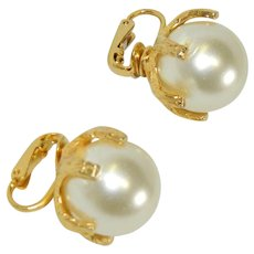 Large Faux Pearl Heavy Pronged Earrings
