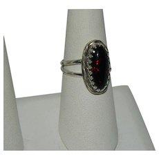 Fiery Colorful Black Opal 2.55ct Silver Ring sz 8