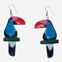 Colorful Toucan Hand Carved Painted Bird Earrings