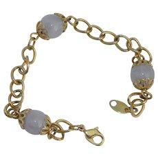 Vintage Avon Pink Glass Bead Gold Tone Chain Bracelet