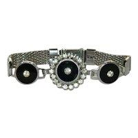 Art Deco Black Paste Stone Mesh Bracelet