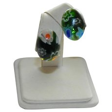 Green Cobalt Blue Venetian Art Glass Millifiori Glass Pierced Earrings