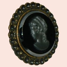 Exceptional Hematite Black Glass Cameo Belt Buckle Scarf Buckle