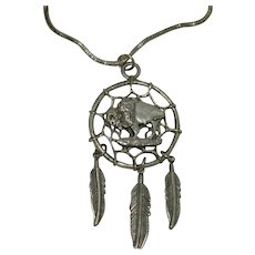 Amzor Dream Catcher with Buffalo Pendant on Sterling Snake Chain