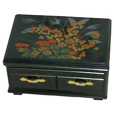 Hong Kong Black Plastic Faux Lacquer Jewelry Box