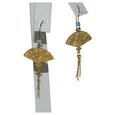 Gorgeous Asian Golden Fans Dangler Earrings Blue