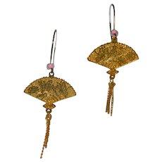 Gorgeous Asian Golden Fans Dangler Earrings Pink