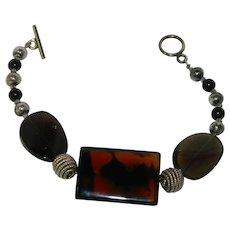 Pretty Picture Agate Stone Bracelet Silver Black