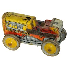 Tin Litho Tractor Toy Large For Restore