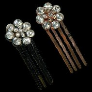 Sparkling Rhinestone Hair Pins Pair Rose Gold Black