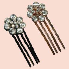 Sparkling Rhinestone Hair Pins Pair Rose Gold Black