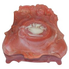 Rich Coral Color Incolay Stone Cameo Trinket Jewelry Box Casket