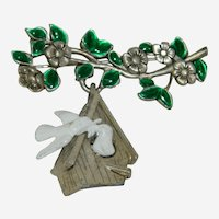 Fun Danecraft Branch and Bird House Birds Brooch