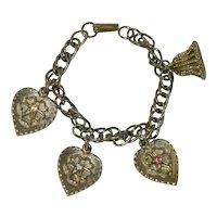 Gold Tone Heart Rhinestone Charm Bracelet